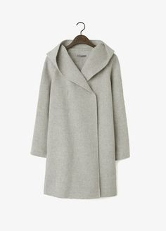 Gray Heather Hooded Wool Coat | Vince
