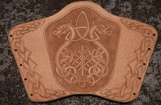 Viking Dragon Bracer - WIP by TheNetrunner on DeviantArt Leather Bracers, Leather Cuffs, Leather Tooling, Leather Wallet, Leather Jewelry, Larp, Leather Working Patterns, Viking Dragon, Viking Designs