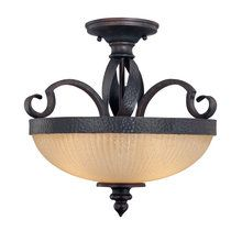 "View the Savoy House 6-227-3 Tuscan 16"" 3 Light Semi-Flush Mount Fixture with Cream Ribbed Glass from the Carmel Collection at LightingDirect.com."