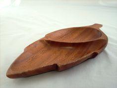 Monkey Pod Wood Tray, Leaf Shaped Divided Storage Decor, Vintage.