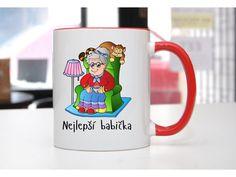 Hrnek Nejlepší babička barevné ouško a vnitřek - POTISKNUTO European Countries, Pavlova, Czech Republic, Mugs, Tableware, Dinnerware, Tumblers, Tablewares, Mug
