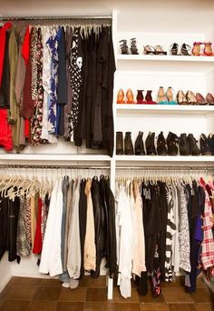 StyleCaster; shoe shelves at eye level, rod below
