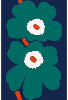 Unikko 50th Anniversary Fabric By the Repeat Dark Blue/Green/Orange | Kiitos Marimekko