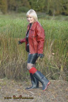 Red and Black Wet Look, Boot Socks, Rain Wear, Black Rubber, High Boots, Dress Skirt, Rain Boots, Pump, Sexy Women