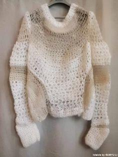 Cream-nude silk-mohair crochet sweater by lolalois