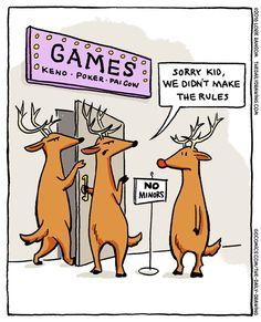 Poor Rudy. | Read The Daily Drawing #comics @ http://www.gocomics.com/the-daily-drawing/2015/12/16?utm_source=pinterest&utm_medium=socialmarketing&utm_campaign=social | #GoComics #webcomic #Rudolph #Christmas #reindeer #games