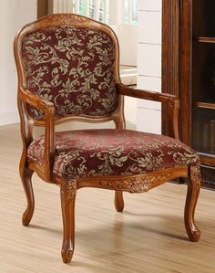 Enjoy the elegant craftsmanship and classic design of this oversized accent chair that brings to mind European palaces. This sophisticated chair features a sturdy wood frame and an upholstered seat and back with a floral design on rich fabric.