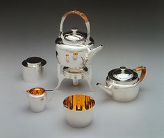 Traveling tea set, ca. 1879  Christopher Dresser (British, 1834–1904); Hukin & Heath (Birmingham, founded 1855)  Gilt and silver-plated white metal, split bamboo, leather-covered wood with velvet and glazed cotton linings