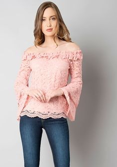 d8396cca65e09 Pink Lace Bell Sleeve Off Shoulder Top