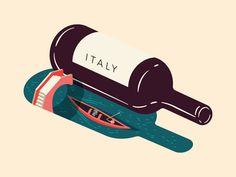 Wine Feature Italy - Illustration for Saute Magazine minimal bridge water gondola venice italy shadow bottle wine Italy Illustration, Graphic Illustration, Graphic Art, Graphic Design, Gfx Design, Italy Logo, Wine Meme, Wine Poster, Wine Logo