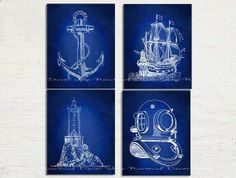 Nautical Art Nautical Decor Set of Four