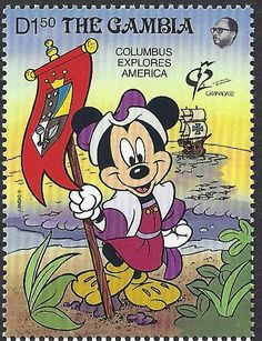Mickey Mouse as Christopher Columbus. On October 12, 1492 Columbus landed on San Salvador, an island of the Bahamas. It is documented with this Gambia stamp Scott #1229 (08 Apr 1992). This October 12th will mark the 520th Anniversary.
