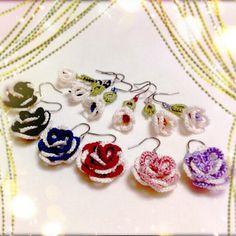 レース編みのピアス・イヤリング(花と蕾)プレミアム P018