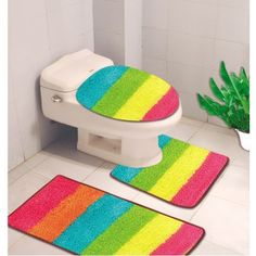 Kashi Home Denise 3 Piece Striped Bath Rug