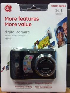 GE Smart Series 14.1 megapixel Digital Camera M140. Image stabilization. Panorama stitching. Red-eye removal. Face detection. Auto brightness.