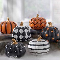 Mini Designer Pumpkins, Set of Three Pumpkin Art, Pumpkin Crafts, Cute Pumpkin, Fall Crafts, Pumpkin Carving, Pumpkin Topiary, Pumpkin Ideas, Black Pumpkin, Holiday Crafts