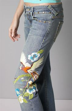 A.B.S./Allen B. Embroidered Jeans   Nordstrom