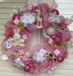 It's A Girl Pink Deco Mesh Wreath by HertasWreaths on Etsy, $85.00