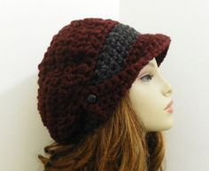 CROCHET PATTERN PDF for Winged Brim Slouchy Newsboy Hat. $6.00, via Etsy.
