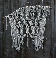 Large Macramé Wall Hanging on Drift Wood by Free Creatures