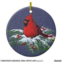 Christmas Cardinal Bird Snow Art Ceramic Ornament Happy New Year Hand Painted Ornaments, Wood Ornaments, Christmas Tree Ornaments, Christmas Wreaths, Christmas Crafts, Christmas Decorations, Handpainted Christmas Ornaments, Advent Wreaths, Dough Ornaments
