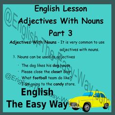 English Lesson  Adjectives With Nouns  Part 3 Everyone Can Speak English Like A Native English Speaker