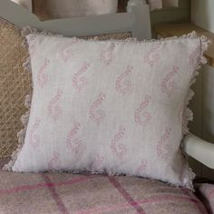 100% linen cushion in rose