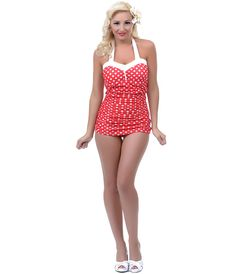 Lolita Girl Red & White Polka Dot Betty Vintage Style Swimsuit- Unique Vintage