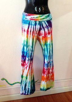 Women's Yoga Pants Rainbow Tie Dye Lounge Pants by 2dye4designs, $45.00