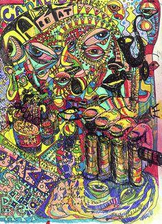 Contemporary Wall Art, Modern Art, Trippy Designs, Psychedelic Drawings, Acid Art, Hippie Wallpaper, Meditation Art, Hippie Art, Skull Art