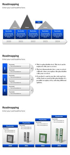 PowerPoint Management Templates. Dark blue Roadmapping charts and slides for compelling business presentations. #powerpoint #business