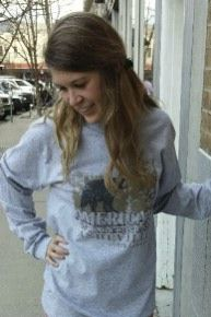 Women's T-shirt gray - long sleeve - spring style fashion @ Black Bear Trading Asheville N.C.