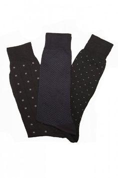 Mens Three Pack Cotton Dress Socks