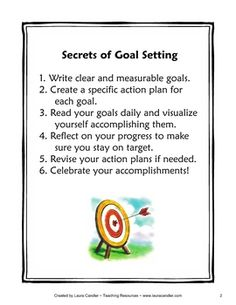 Goal Setting Booklet Freebie - Includes Secrets of Goal Setting visual and a goal tracker booklet  This whole website is awesome: Teachers sell (or give away) fantastic resources to other teachers.