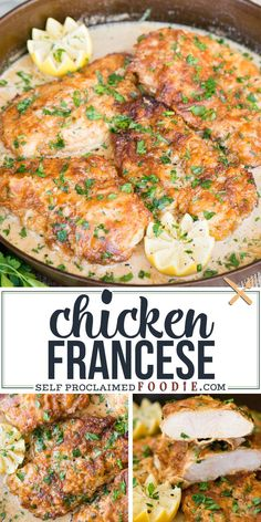 Enjoy these delicious lightly breaded boneless skinless chicken breasts, pan fried to golden brown, then served in a lemon butter wine sauce with a hint of cream for dinner. Chicken Francese is not only quick and easy to make, but it is an incredibly delicious recipe. Ground Chicken Recipes, Easy Chicken Dinner Recipes, Baked Chicken Recipes, Dinner Dishes, Food Dishes, 30 Min Meals, Cooking Recipes, Wine Sauce, Lemon Butter