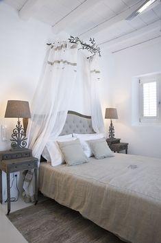 Mina One Villa in Mykonos Coastal Bedrooms, Guest Bedrooms, Mykonos Villas, Mykonos Greece, House Plans With Pictures, Modern Villa Design, Cabin Design, House Design, Awesome Bedrooms