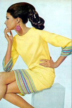 1966 Spectacular banana-yellow shift banded in Roman stripes of beading by Harvey Berin, photo by Gianni Penati