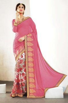 Pink Chiffon Printed Saree