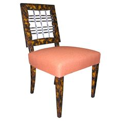 Chair with Faux Tortoise Shell Frame and Lucite Ribbing By Grosfeld House, American 1930s
