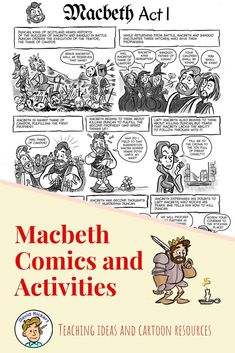 There will be no toil and trouble teaching Macbeth with this set of comics and activities that are t High School Classroom, High School Art, High School Students, Ap Literature, British Literature, Teaching Language Arts, English Language Arts, English Short Stories, Ap English
