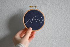 Mountain and Stars Embroidery Hoop Art Wall by BreezebotPunch