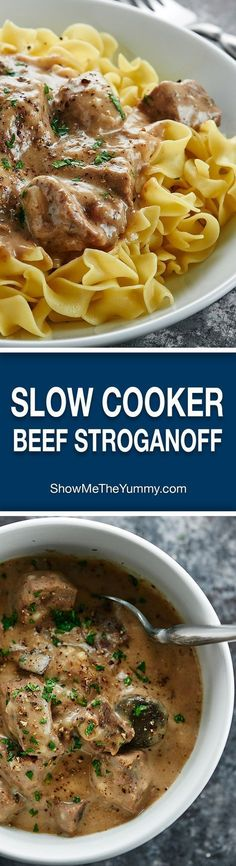 """Love beef stroganoff? You'll love my Slow Cooker Beef Stroganoff! It's made in the crockpot, has no """"cream of x"""" soup, & uses my blend of spices! http://showmetheyummy.com #slowcooker #beefstroganoff"""