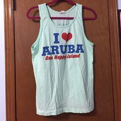 """Tank bundle Blue and orange """"I 'heart symbol' Aruba"""" tank. Orange is XS, Blue is S.     FREE gift with every purchase. When you purchase pick a number 1-3, write it in a comment, and this will determine which bag I draw your gift from! Tops Tank Tops"""