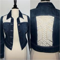 Upcycled Jean Jacket with Crochet Lace Inserts by theeKissOfLife