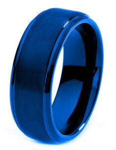 The Neo Blue is incredible! This men's Titanium ring is very unique with it's high polish round edges and step up matte finish. At an 8mm band width it will be well noticed.