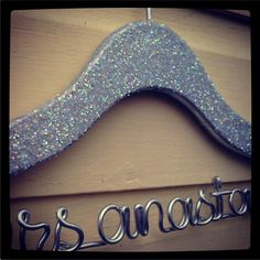 The ever popular personalized wedding hanger comes in glitter now!  Love.    By lilafrances on Etsy