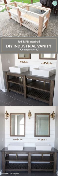 DIY Industrial Bathroom Vanity - Avanti Morocha Guest Bath vanity idea - one sink model Industrial Bathroom Vanity, Diy Bathroom Vanity, Diy Vanity, Basement Bathroom, Bathroom Mirrors, Bathroom Pink, Diy Bathroom Furniture, Wood Vanity, Master Bathroom