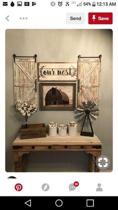 Love the barn door shutters! - My site Country Decor, Rustic Decor, Farmhouse Decor, Country Farmhouse, Country Crafts, Country Living, Barn Door Decor, Barn Doors, Barn Door Windows
