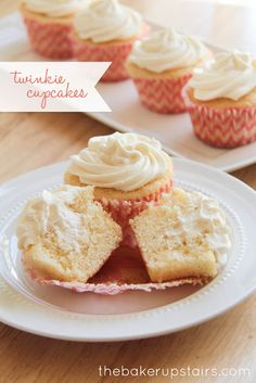 Twinkie Cupcakes with a creamy vanilla pudding centers and a marshmallow, heavy whipping cream icing ~ cupcake recipe