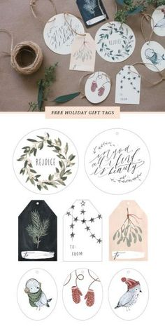 Just print these pretty FREE printable Christmas and Holiday gift tags out onto cardstock, cut around the edges, punch a hole, and string with twine. So pretty and so easy! | Kelli Murray